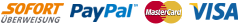 Logos unser Zahlarten Sofortüberweisung, Paypal, Mastercard und Visacard