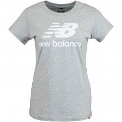 New Balance Damen T-Shirt Essentials Stacked Logo grau
