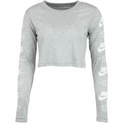 Nike Damen Longsleeve Futura Flip Crop grau