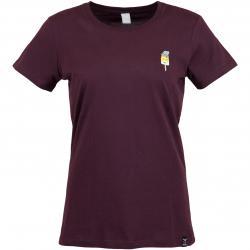 Iriedaily Damen T-Shirt Ice Beanie dunkelrot
