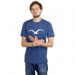Cleptomanicx T-Shirt Möwe blau meliert