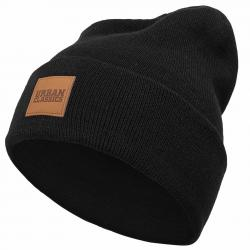 Urban Classics Leatherpatch Long Beanie schwarz