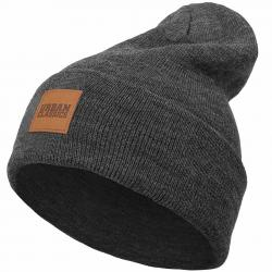 Urban Classics Leatherpatch Long Beanie charcoal