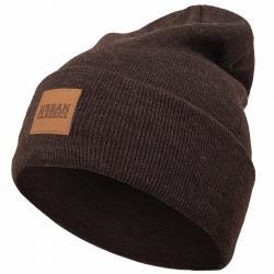Urban Classics Leatherpatch Long Beanie braun
