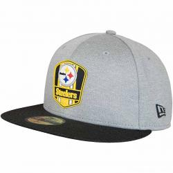 New Era 59Fifty Fitted Cap OnField Road Pittsburgh Steelers grau/schwarz
