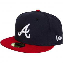 New Era 59Fifty Fitted Cap Authentic Performance Home Atlanta Braves Home schwarz/rot