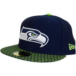 New Era 59Fifty Fitted Cap OnField NFL17 Seattle Seahawks dunkelblau/grün