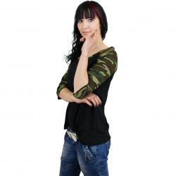 Urban Classics Damen Longshirt 3/4 Contrast Raglan schwarz/camouflage