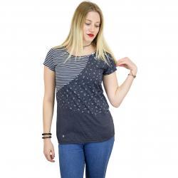 Ragwear Damen T-Shirt Taby Block Organic dunkelblau