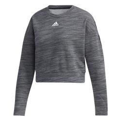 Adidas Essential Tape Damen Cropped Sweatshirt Pullover grau