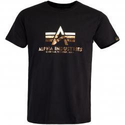 Alpha Industries Basic Foil Print T-Shirt schwarz/copper