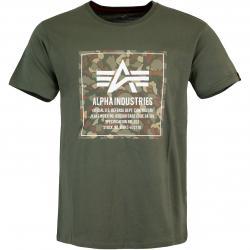 Alpha Industries Camo Block Herren T-Shirt dark olive