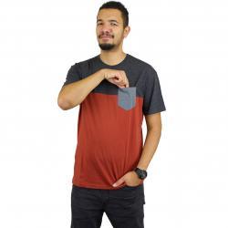 Iriedaily T-Shirt Block Pocket 2 brick