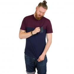Iriedaily T-Shirt Block Pocket navy wine