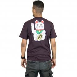 Iriedaily T-Shirt Bye Bye Cat aubergine