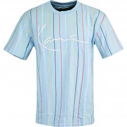 Karl Kani Signature Logo Pinstripe T-Shirt blau