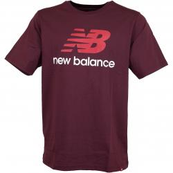 New Balance T-Shirt Essentials Stacked weinrot