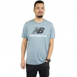New Balance T-Shirt Essentials Stacked grau-blau