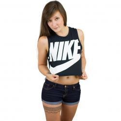 Nike Damen Tanktop Essential Crop schwarz/weiß