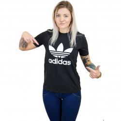 Adidas Originals Damen T-Shirt Trefoil schwarz/weiß