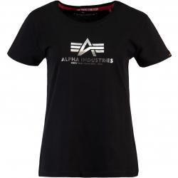 Alpha Industries New Basic Foil Print Damen Shirt schwarz/silber