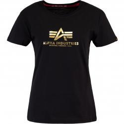 Alpha Industries New Basic Foil Print Damen Shirt schwarz/gold