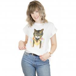 Dedicated Damen T-Shirt Bling Cat weiß