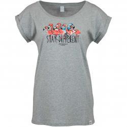 Iriedaily Damen T-Shirt Flamingo Bay grau