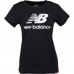 New Balance Damen T-Shirt Essentials Stacked Logo schwarz