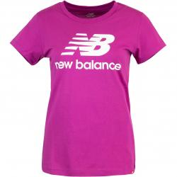 New Balance Essentials Stacked Logo Damen Shirt lila