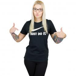 Nike Damen T-Shirt Crew Just Do It Swoosh schwarz/weiß