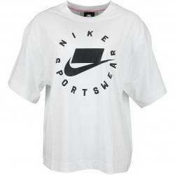 Nike Damen T-Shirt Drop Shoulder weiß/schwarz