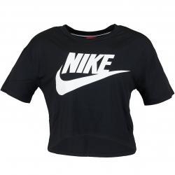 Nike Damen T-Shirt Essential Crop schwarz/weiß