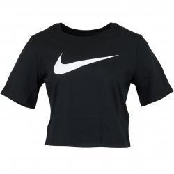Nike Damen T-Shirt Swoosh Crop schwarz/weiß