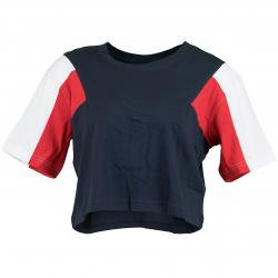 Urban Classics Damen T-Shirt 3-Tone Short Oversize dunkelblau/weiß/rot
