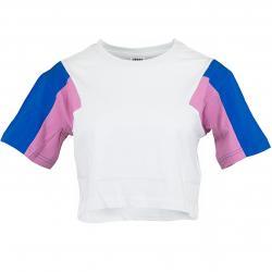 Urban Classics Damen T-Shirt 3-Tone Short Oversize weiß/blau/pink