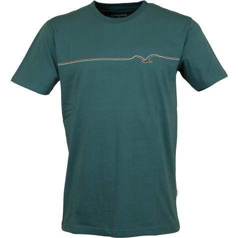 Cleptomanicx T-Shirt Möwe Lines grün