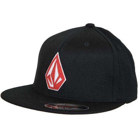 Volcom Flexfit Cap Stone Stack schwarz/rot