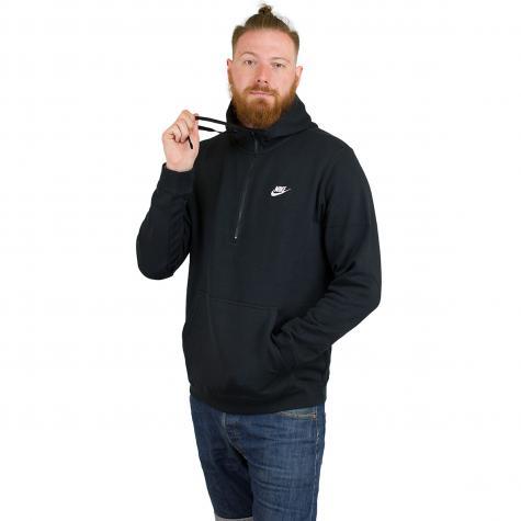 Nike Hoody Club Fleece Half Zip schwarz/weiß