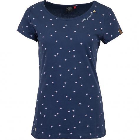 Ragwear Damen T-Shirt Mint Hearts indigo blau