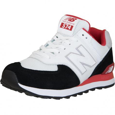 ☆ New Balance Sneaker 574 Leder/Textil weiß/schwarz/rot ...