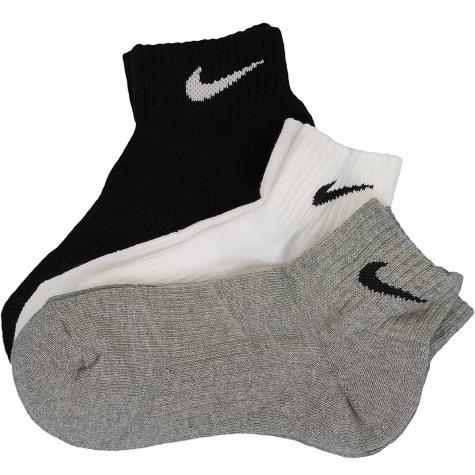 Nike Socken Cushion Quarter (3er Pack) schwarz/weiß/grau