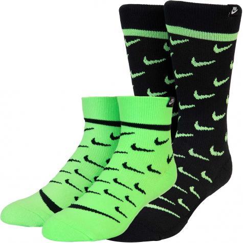 Nike Heritage SNEAKR Ankle Socken 2er Pack schwarz/grün