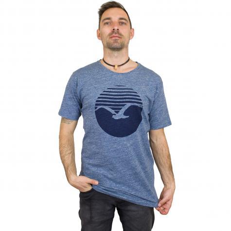 Cleptomanicx T-Shirt Vintage Print blau