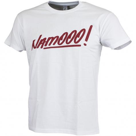 Männersport T-Shirt Namooo! weiß/bordeaux