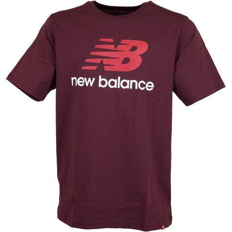 New Balance T-Shirt Essentials Stacked weinrot