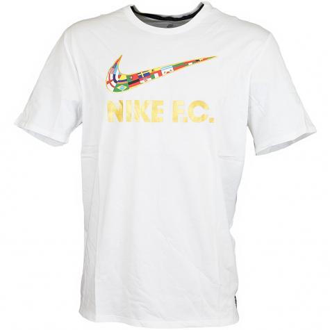 Nike T-Shirt F.C. Swoosh Flag weiß/gold