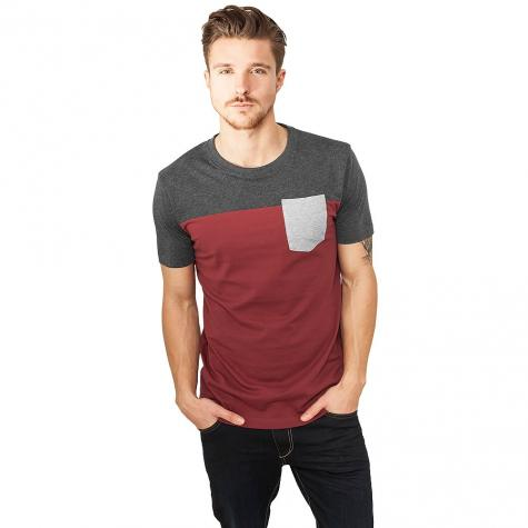 Urban Classics T-Shirt 3-Tone Pocket burgundy/charcoal/grey