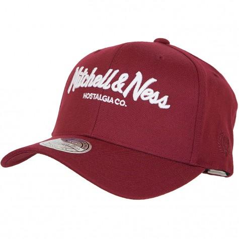 Mitchell & Ness Snapback Cap Curved Pinscript Own Brand weinrot/weiß