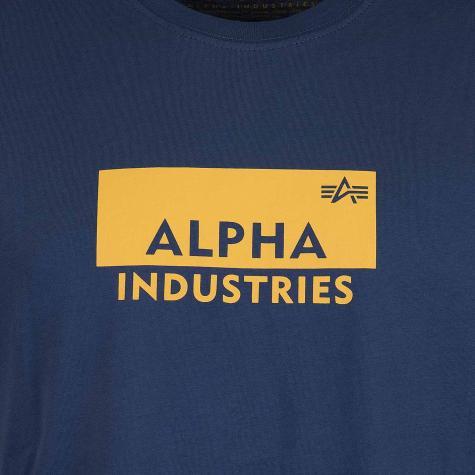 Alpha Industries T-Shirt Box Logo dunkelblau/gelb